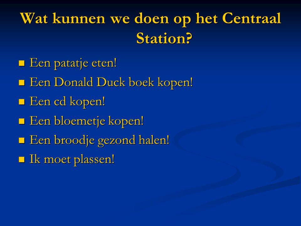 Wat kunnen we doen op het Centraal Station.  Een patatje eten.