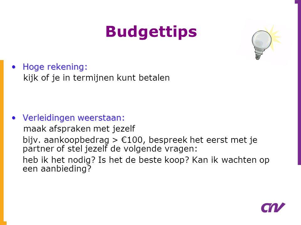 Budgettips •Hoge rekening: kijk of je in termijnen kunt betalen •Verleidingen weerstaan: maak afspraken met jezelf bijv. aankoopbedrag > €100, bespree