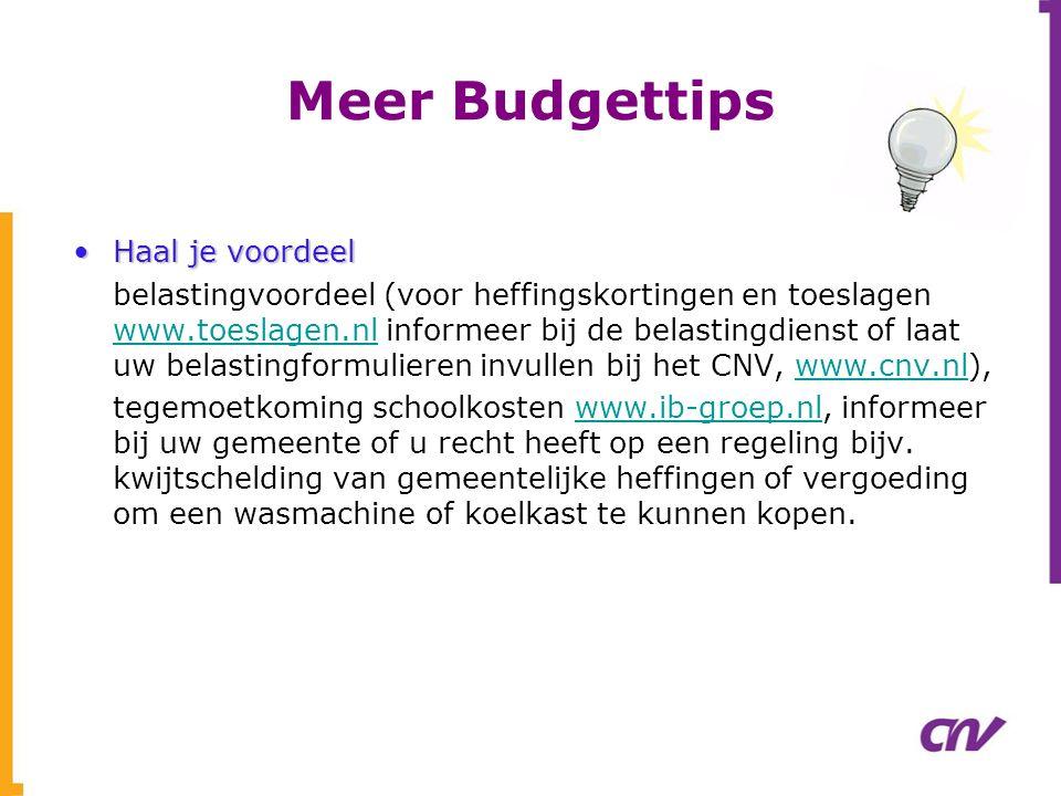 Meer Budgettips •Haal je voordeel belastingvoordeel (voor heffingskortingen en toeslagen www.toeslagen.nl informeer bij de belastingdienst of laat uw