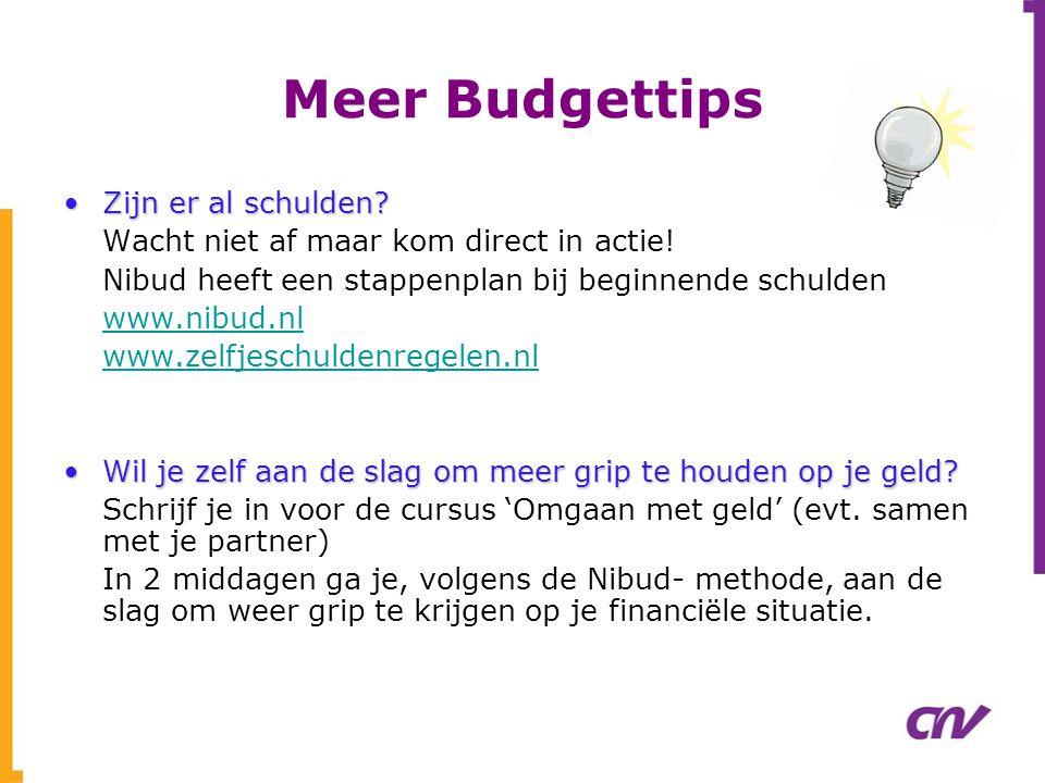 Meer Budgettips •Zijn er al schulden? Wacht niet af maar kom direct in actie! Nibud heeft een stappenplan bij beginnende schulden www.nibud.nl www.zel