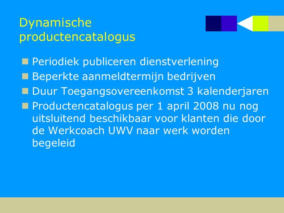 Dynamische productencatalogus  Periodiek publiceren dienstverlening  Beperkte aanmeldtermijn bedrijven  Duur Toegangsovereenkomst 3 kalenderjaren 