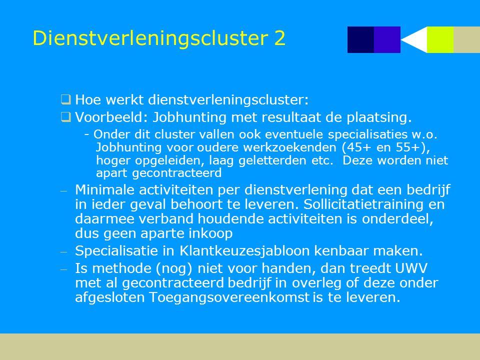 Dienstverleningscluster 2  Hoe werkt dienstverleningscluster:  Voorbeeld: Jobhunting met resultaat de plaatsing. - Onder dit cluster vallen ook even