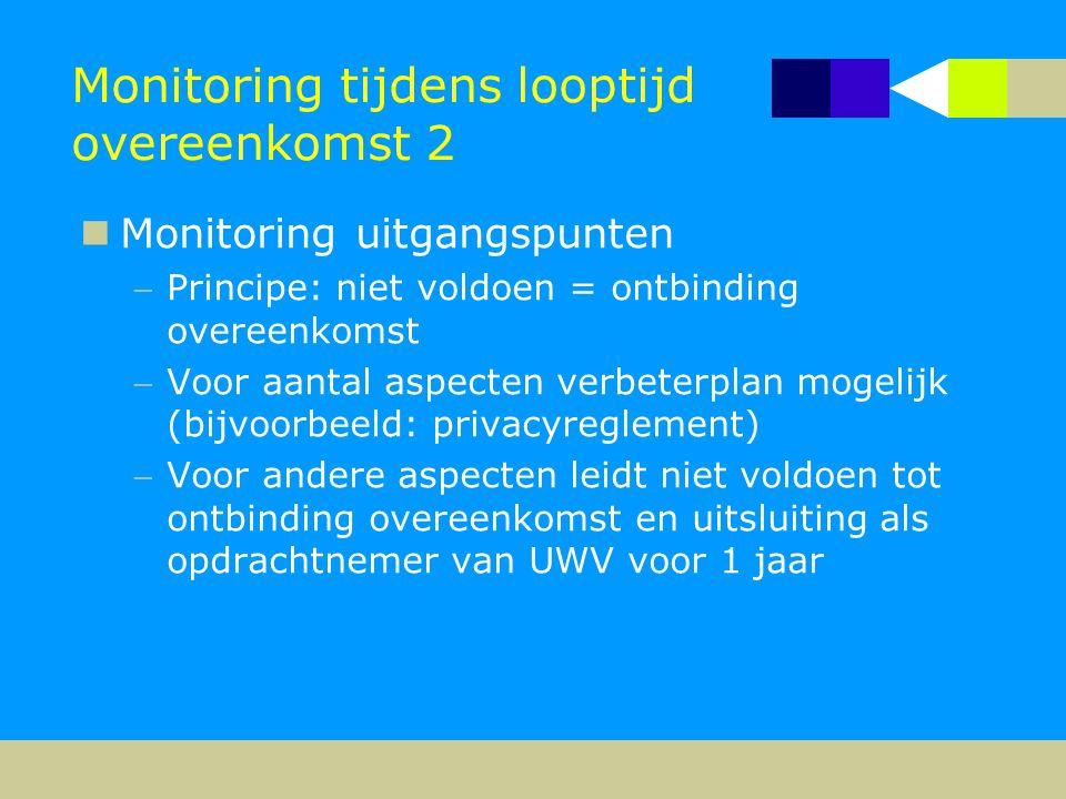 Monitoring tijdens looptijd overeenkomst 2  Monitoring uitgangspunten Principe: niet voldoen = ontbinding overeenkomst Voor aantal aspecten verbete