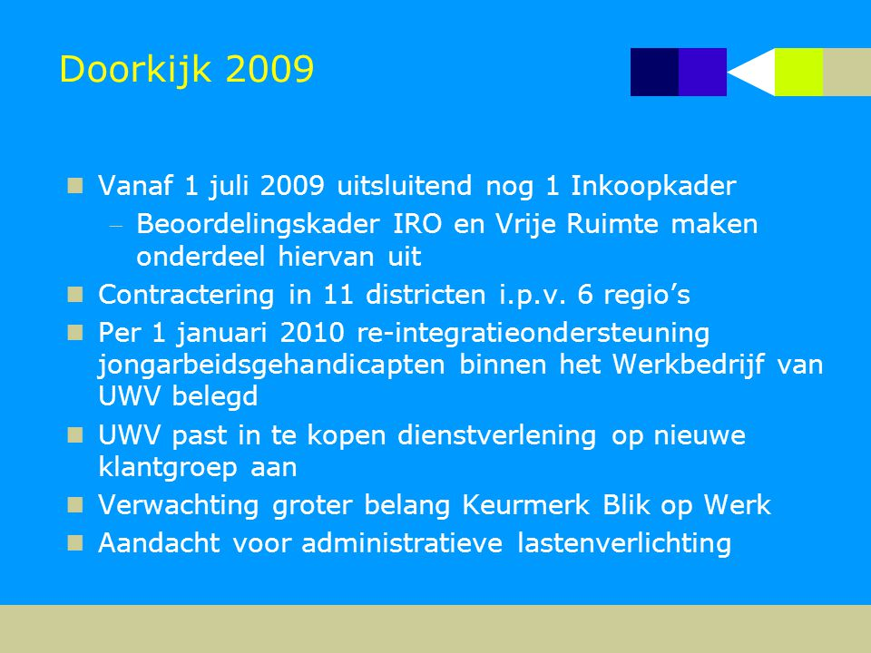Doorkijk 2009  Vanaf 1 juli 2009 uitsluitend nog 1 Inkoopkader Beoordelingskader IRO en Vrije Ruimte maken onderdeel hiervan uit  Contractering in