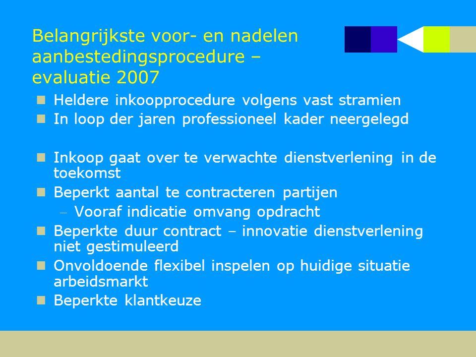 Belangrijkste voor- en nadelen aanbestedingsprocedure – evaluatie 2007  Heldere inkoopprocedure volgens vast stramien  In loop der jaren professione
