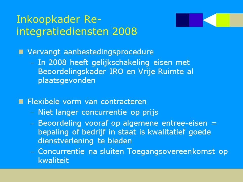 Inkoopkader Re- integratiediensten 2008  Vervangt aanbestedingsprocedure In 2008 heeft gelijkschakeling eisen met Beoordelingskader IRO en Vrije Rui