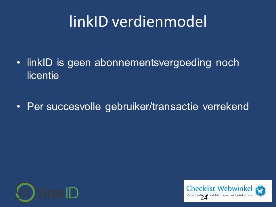 •linkID is geen abonnementsvergoeding noch licentie •Per succesvolle gebruiker/transactie verrekend 24 linkID verdienmodel