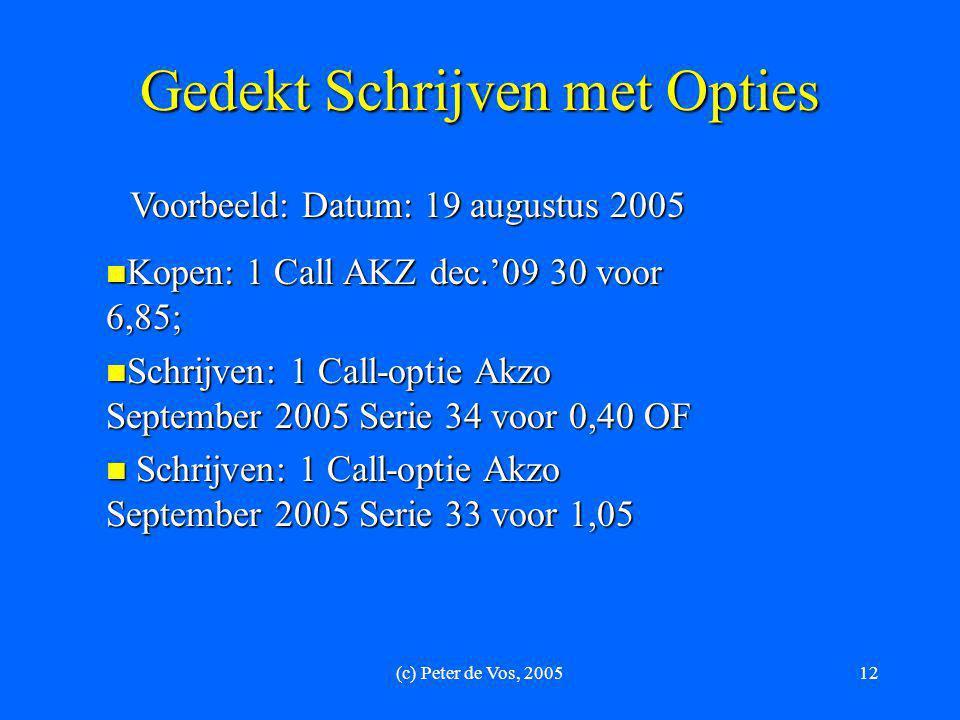 (c) Peter de Vos, 200512 Gedekt Schrijven met Opties Voorbeeld: Datum: 19 augustus 2005  Kopen: 1 Call AKZ dec.'09 30 voor 6,85;  Schrijven: 1 Call-