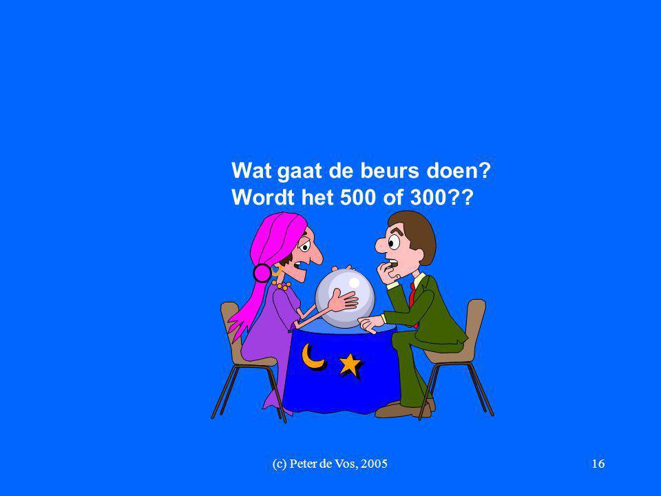 (c) Peter de Vos, 200516 Wat gaat de beurs doen? Wordt het 500 of 300??