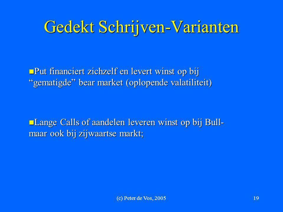 """(c) Peter de Vos, 200519 Gedekt Schrijven-Varianten  Put financiert zichzelf en levert winst op bij """"gematigde"""" bear market (oplopende valatiliteit)"""