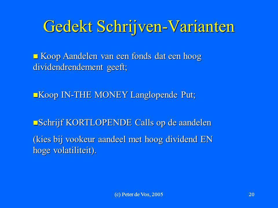 (c) Peter de Vos, 200520 Gedekt Schrijven-Varianten  Koop Aandelen van een fonds dat een hoog dividendrendement geeft;  Koop IN-THE MONEY Langlopend