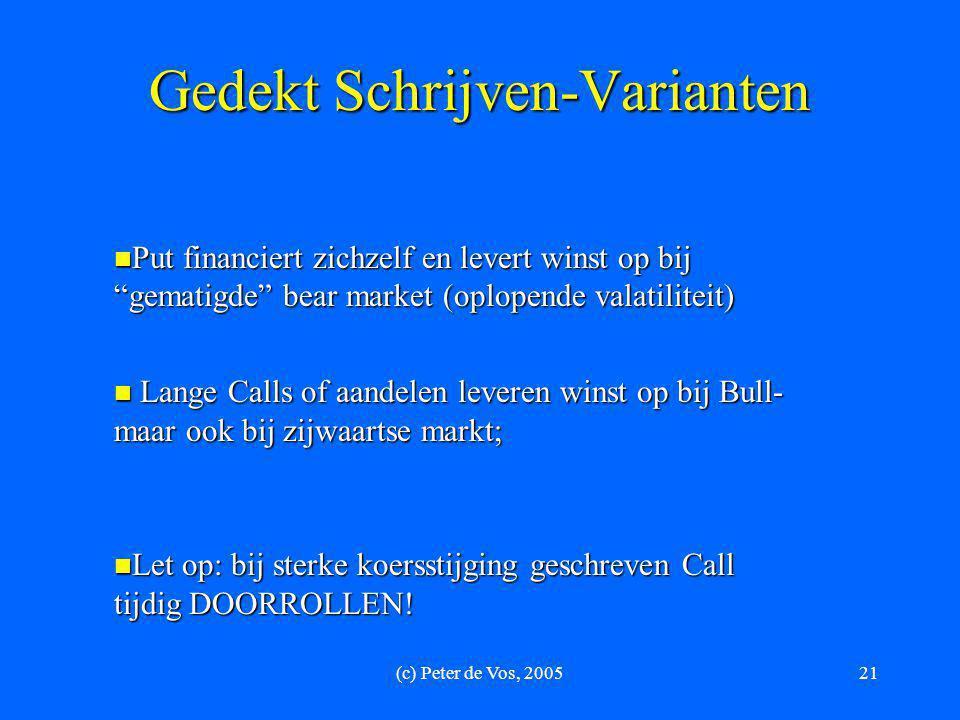 """(c) Peter de Vos, 200521 Gedekt Schrijven-Varianten  Put financiert zichzelf en levert winst op bij """"gematigde"""" bear market (oplopende valatiliteit)"""