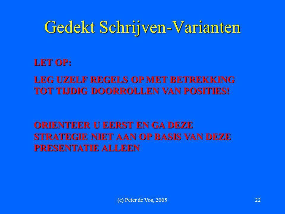 (c) Peter de Vos, 200522 Gedekt Schrijven-Varianten LET OP: LEG UZELF REGELS OP MET BETREKKING TOT TIJDIG DOORROLLEN VAN POSITIES! ORIENTEER U EERST E