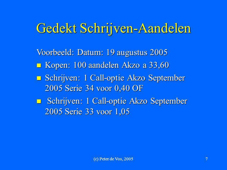 (c) Peter de Vos, 20057 Gedekt Schrijven-Aandelen Voorbeeld: Datum: 19 augustus 2005  Kopen: 100 aandelen Akzo a 33,60  Schrijven: 1 Call-optie Akzo