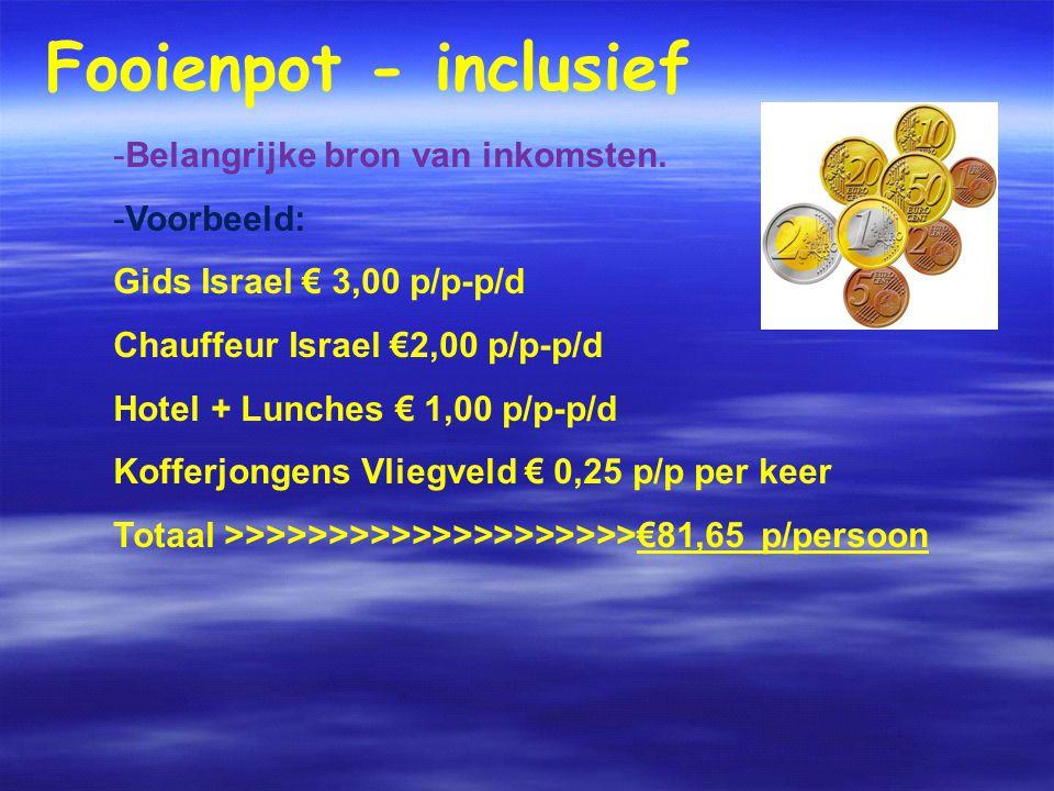 Fooienpot - inclusief -Belangrijke bron van inkomsten.