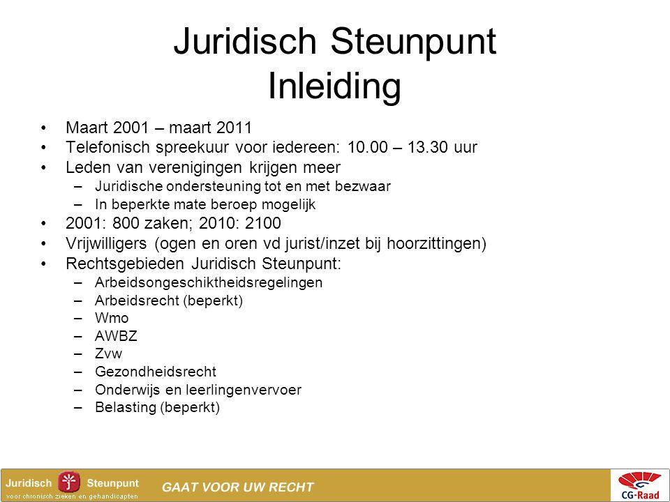 Juridisch Steunpunt Inleiding •Maart 2001 – maart 2011 •Telefonisch spreekuur voor iedereen: 10.00 – 13.30 uur •Leden van verenigingen krijgen meer –J