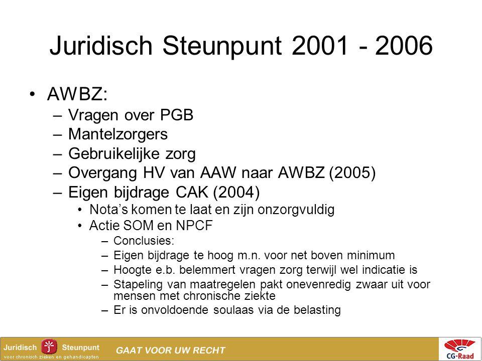 Juridisch Steunpunt 2001 - 2006 •AWBZ: –Vragen over PGB –Mantelzorgers –Gebruikelijke zorg –Overgang HV van AAW naar AWBZ (2005) –Eigen bijdrage CAK (