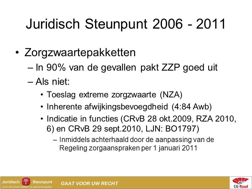 Juridisch Steunpunt 2006 - 2011 •Zorgzwaartepakketten –In 90% van de gevallen pakt ZZP goed uit –Als niet: •Toeslag extreme zorgzwaarte (NZA) •Inheren