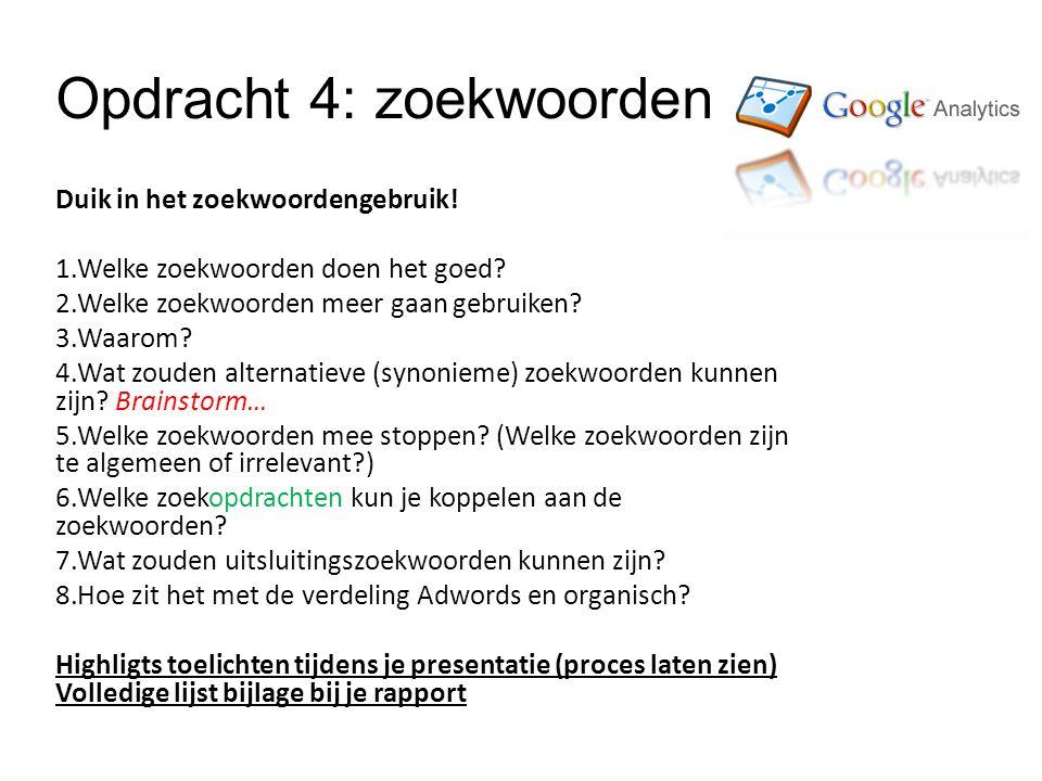 Opdracht 4: zoekwoorden Duik in het zoekwoordengebruik.