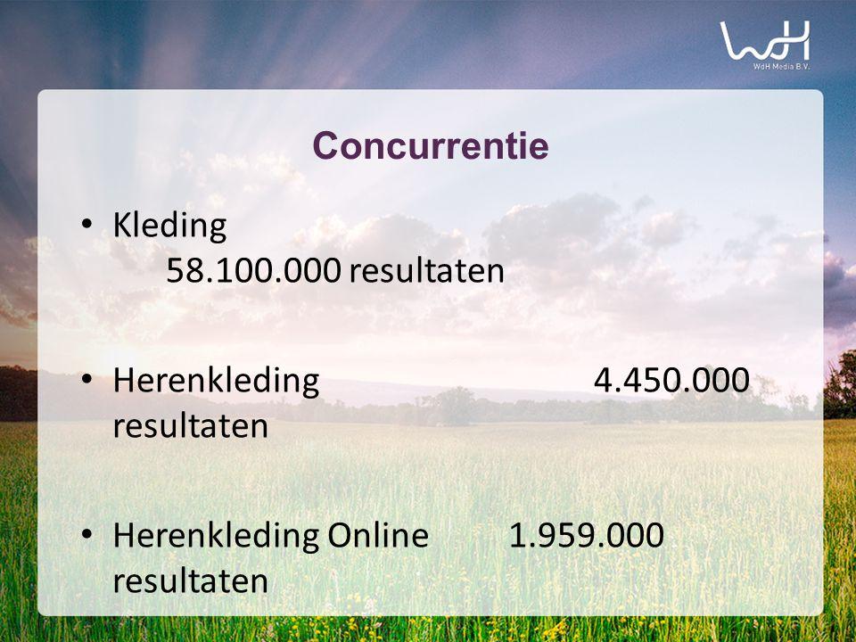 Concurrentie • Kleding 58.100.000 resultaten • Herenkleding4.450.000 resultaten • Herenkleding Online1.959.000 resultaten