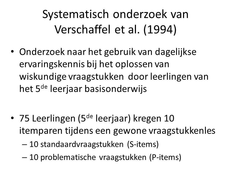 Systematisch onderzoek van Verschaffel et al. (1994) • Onderzoek naar het gebruik van dagelijkse ervaringskennis bij het oplossen van wiskundige vraag