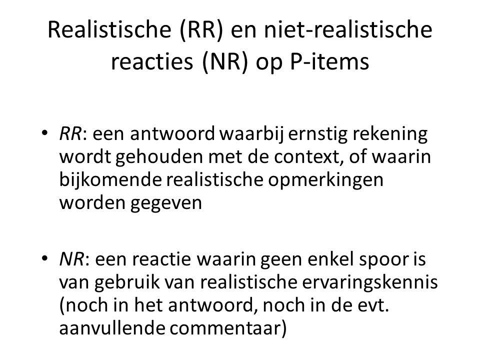 Realistische (RR) en niet-realistische reacties (NR) op P-items • RR: een antwoord waarbij ernstig rekening wordt gehouden met de context, of waarin b