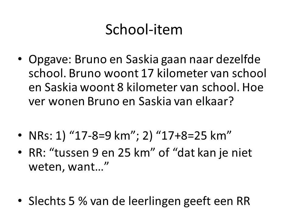 School-item • Opgave: Bruno en Saskia gaan naar dezelfde school. Bruno woont 17 kilometer van school en Saskia woont 8 kilometer van school. Hoe ver w