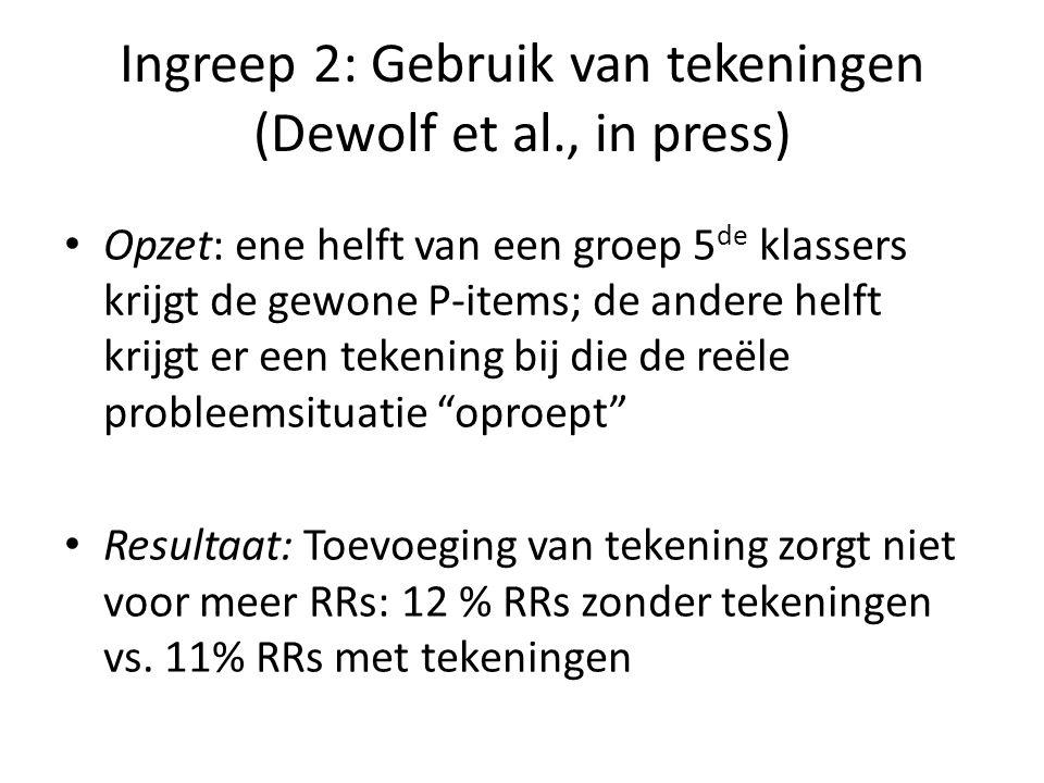 Ingreep 2: Gebruik van tekeningen (Dewolf et al., in press) • Opzet: ene helft van een groep 5 de klassers krijgt de gewone P-items; de andere helft k