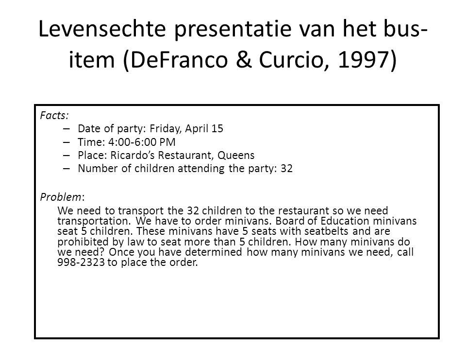 Levensechte presentatie van het bus- item (DeFranco & Curcio, 1997) Facts: – Date of party: Friday, April 15 – Time: 4:00-6:00 PM – Place: Ricardo's R