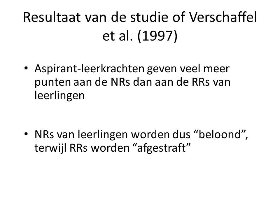 Resultaat van de studie of Verschaffel et al. (1997) • Aspirant-leerkrachten geven veel meer punten aan de NRs dan aan de RRs van leerlingen • NRs van