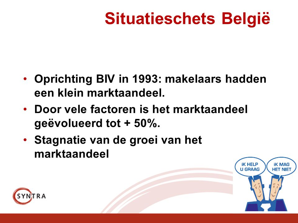 Situatieschets België •Oprichting BIV in 1993: makelaars hadden een klein marktaandeel.