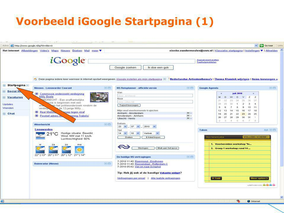 Voorbeeld iGoogle Startpagina (1)