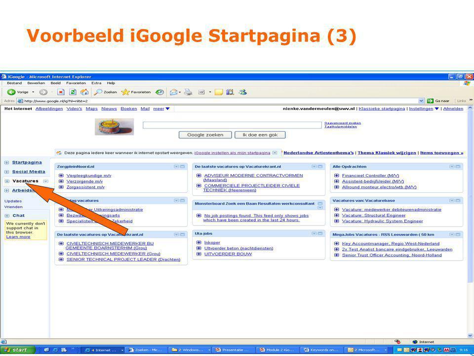Voorbeeld iGoogle Startpagina (3)