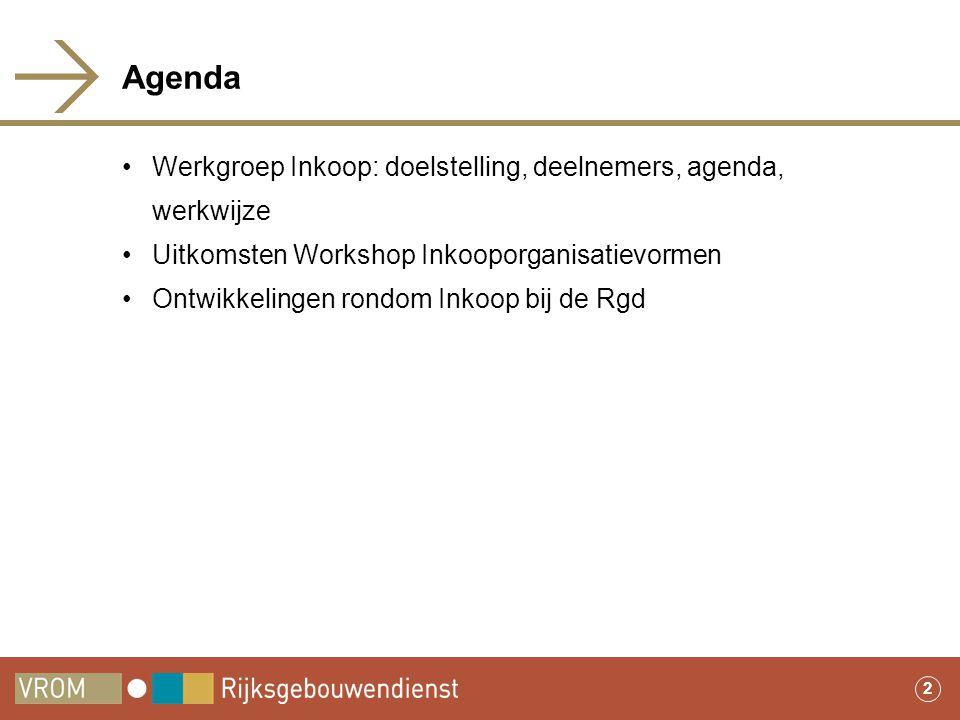 2 Agenda •Werkgroep Inkoop: doelstelling, deelnemers, agenda, werkwijze •Uitkomsten Workshop Inkooporganisatievormen •Ontwikkelingen rondom Inkoop bij