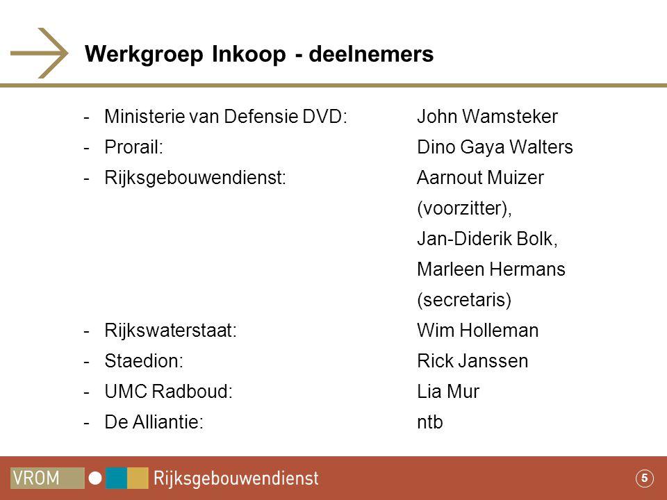 5 Werkgroep Inkoop - deelnemers -Ministerie van Defensie DVD: John Wamsteker -Prorail: Dino Gaya Walters -Rijksgebouwendienst: Aarnout Muizer (voorzit