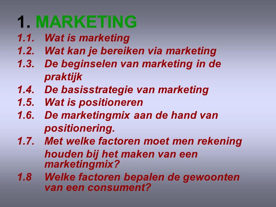 1.MARKETING 1.1. Wat is marketing 1.2. Wat kan je bereiken via marketing 1.3.