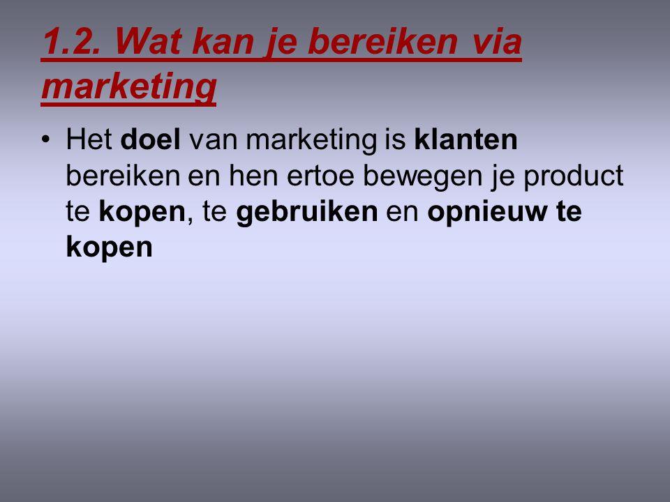 1.1. Wat is marketing? •Het proces van planning en uitvoering van het concept, de prijs, de promotie en de distributie voor ideeën, goederen en dienst