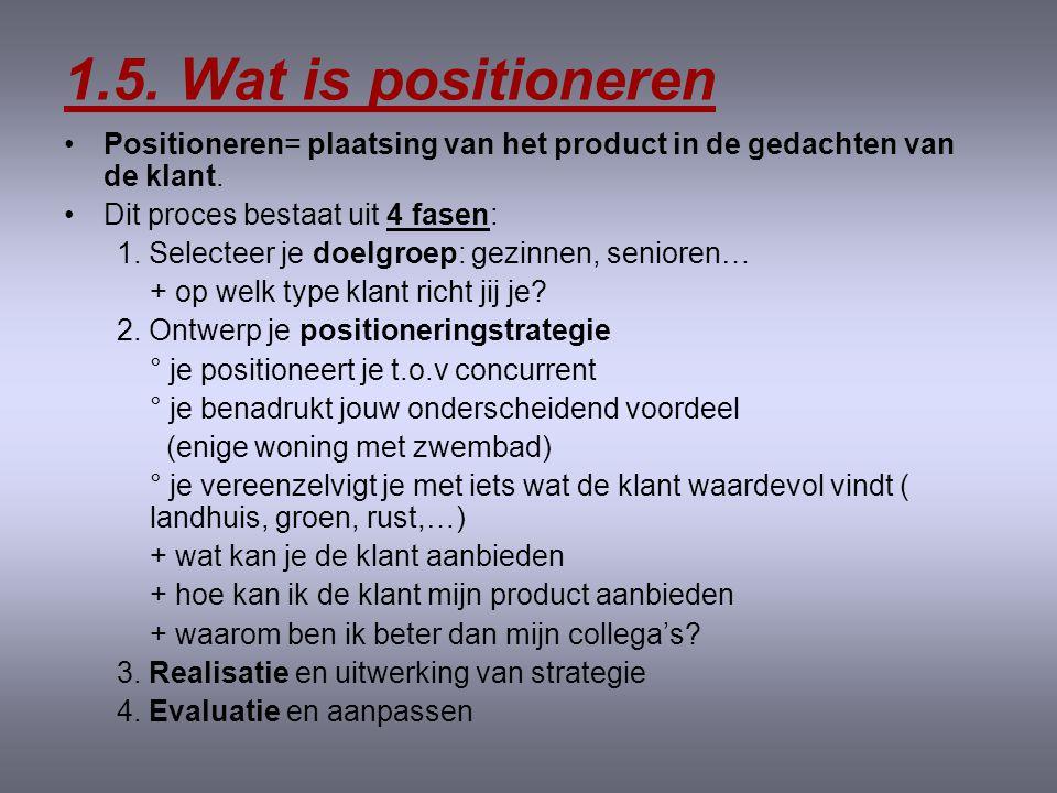 1.5.Wat is positioneren •Positioneren= plaatsing van het product in de gedachten van de klant.