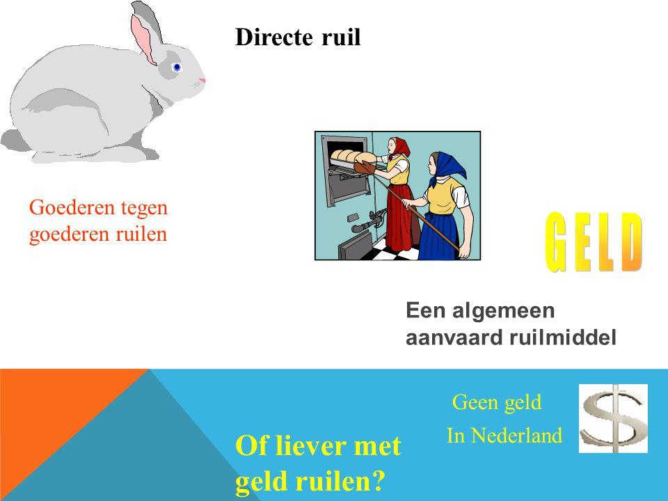 Een algemeen aanvaard ruilmiddel Geen geld In Nederland Directe ruil Goederen tegen goederen ruilen Of liever met geld ruilen?