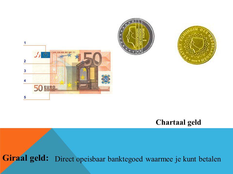 Chartaal geld Giraal geld: Direct opeisbaar banktegoed waarmee je kunt betalen