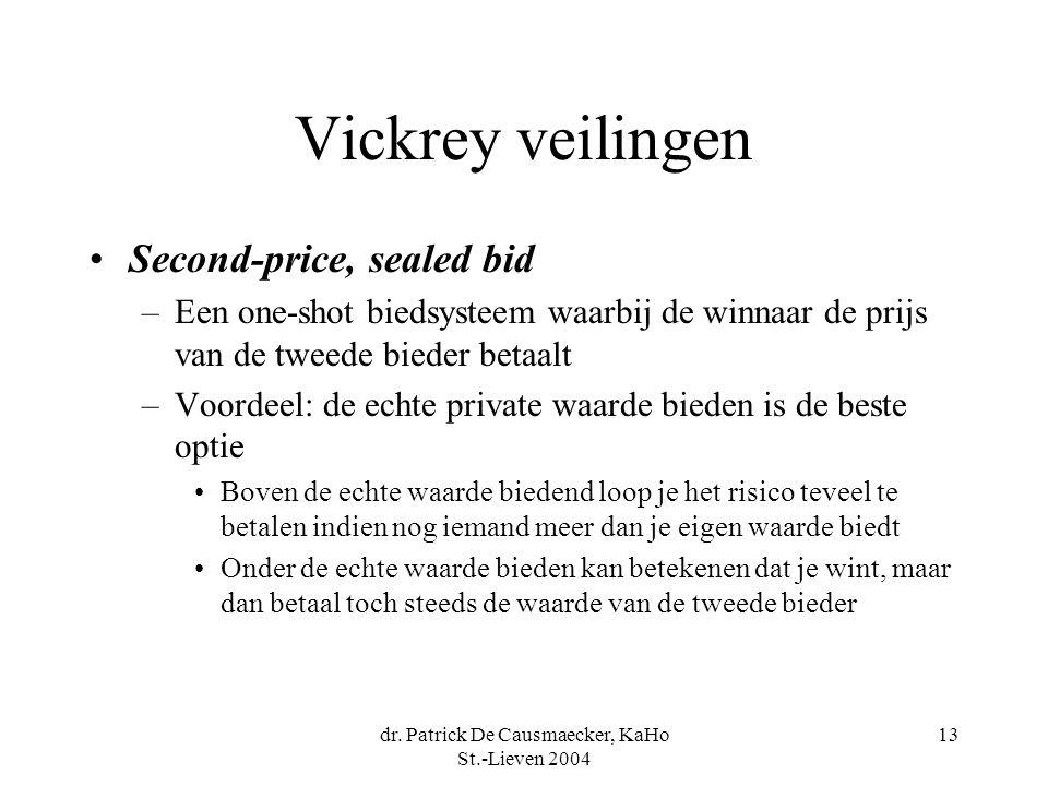 dr. Patrick De Causmaecker, KaHo St.-Lieven 2004 13 Vickrey veilingen •Second-price, sealed bid –Een one-shot biedsysteem waarbij de winnaar de prijs
