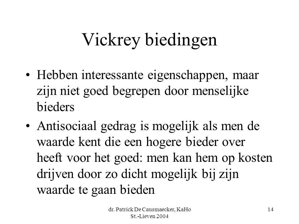 dr. Patrick De Causmaecker, KaHo St.-Lieven 2004 14 Vickrey biedingen •Hebben interessante eigenschappen, maar zijn niet goed begrepen door menselijke