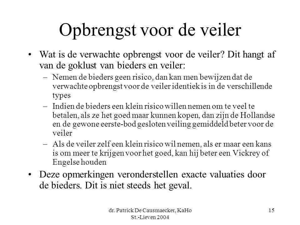 dr. Patrick De Causmaecker, KaHo St.-Lieven 2004 15 Opbrengst voor de veiler •Wat is de verwachte opbrengst voor de veiler? Dit hangt af van de goklus