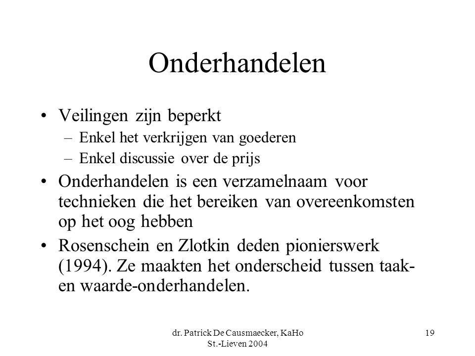 dr. Patrick De Causmaecker, KaHo St.-Lieven 2004 19 Onderhandelen •Veilingen zijn beperkt –Enkel het verkrijgen van goederen –Enkel discussie over de