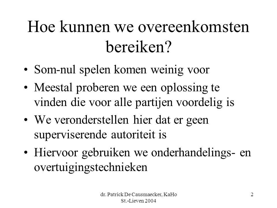 dr. Patrick De Causmaecker, KaHo St.-Lieven 2004 2 Hoe kunnen we overeenkomsten bereiken.