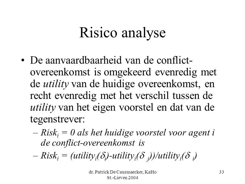 dr. Patrick De Causmaecker, KaHo St.-Lieven 2004 33 Risico analyse •De aanvaardbaarheid van de conflict- overeenkomst is omgekeerd evenredig met de ut