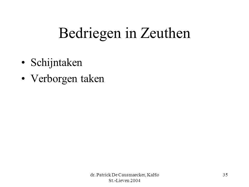 dr. Patrick De Causmaecker, KaHo St.-Lieven 2004 35 Bedriegen in Zeuthen •Schijntaken •Verborgen taken