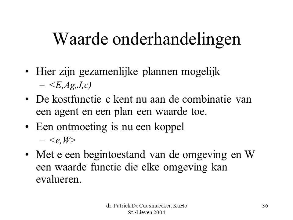 dr. Patrick De Causmaecker, KaHo St.-Lieven 2004 36 Waarde onderhandelingen •Hier zijn gezamenlijke plannen mogelijk –<E,Ag,J,c) •De kostfunctie c ken