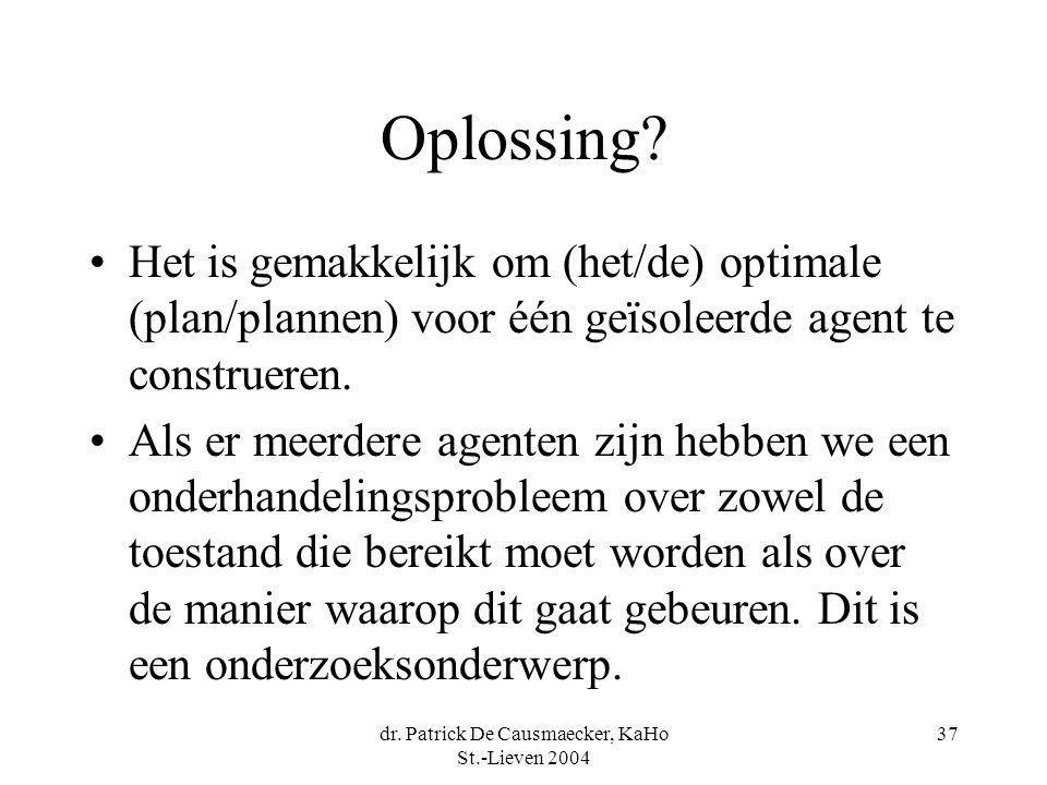 dr. Patrick De Causmaecker, KaHo St.-Lieven 2004 37 Oplossing.