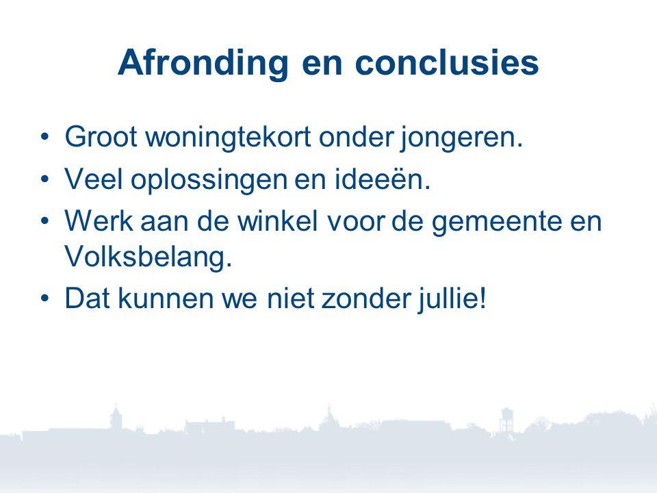 Afronding en conclusies •Groot woningtekort onder jongeren.